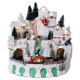 Cenários Natalinos em Miniatura: Cenário natalino com neve e música 25x25x25 cm