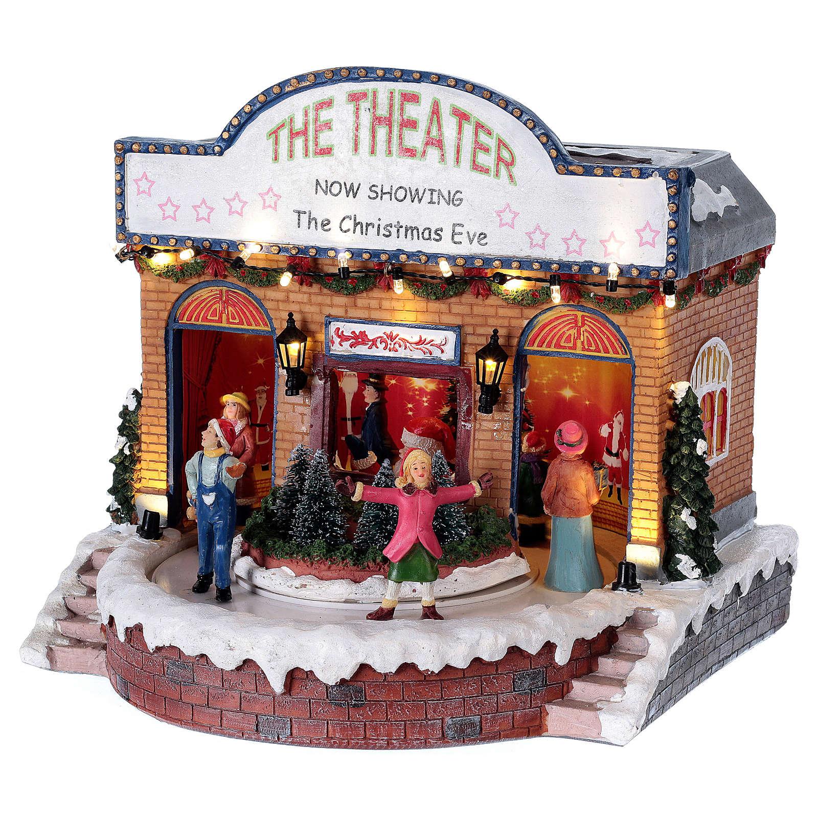 Weihnachtstheater mit Musik und Lichter 25x25x20cm 3