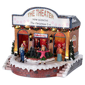 Teatro navideño musical con luces 25x25x20 cm s3