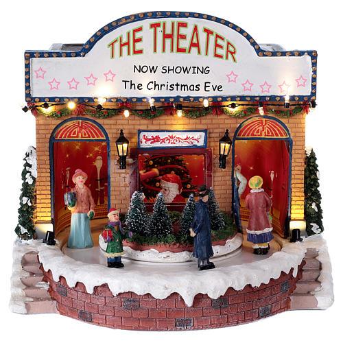 Théâtre Noël musical avec lumières 25x25x20 cm 1