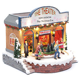 Teatro natalizio musicale con luci 25x25x20 cm s3