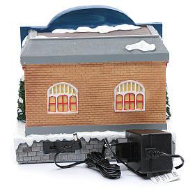 Teatro natalizio musicale con luci 25x25x20 cm s5