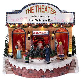 Teatro natalizio musicale con luci 25x25x20 cm s1