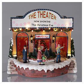 Teatro natalizio musicale con luci 25x25x20 cm s2