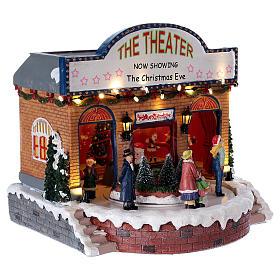 Teatro natalizio musicale con luci 25x25x20 cm s4