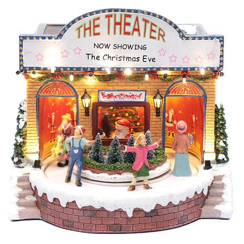 Teatro natalizio musicale con luci 25x25x20 cm 1