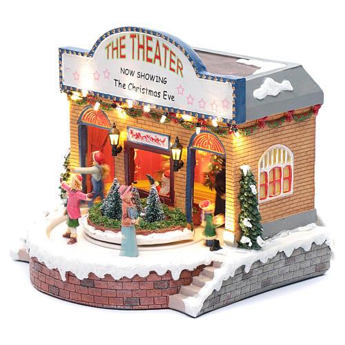 Teatro natalizio musicale con luci 25x25x20 cm 2