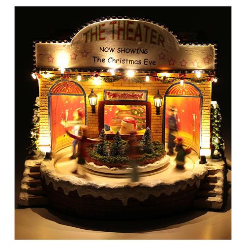 Teatro natalizio musicale con luci 25x25x20 cm 4