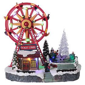 Illuminated Ferris Wheel with lights 30x30x20 cm s1