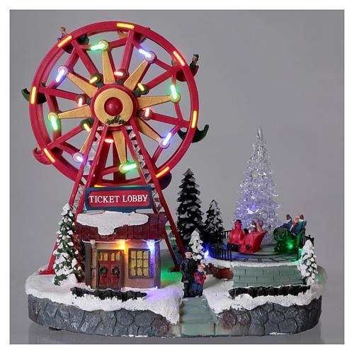 Illuminated Ferris Wheel with lights 30x30x20 cm 2