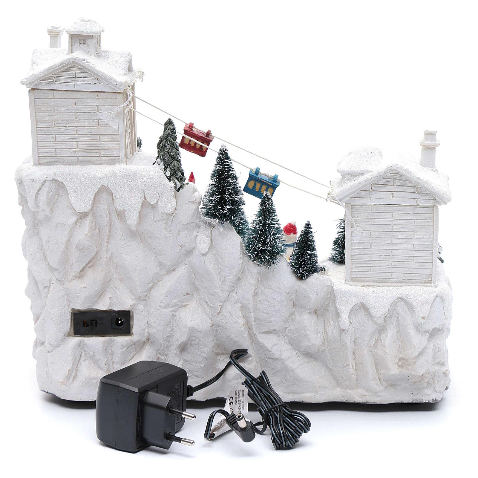 Villaggio natalizio con funivia 30x30x15 cm 3