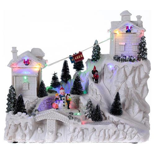 Villaggio natalizio con funivia 30x30x15 cm 1
