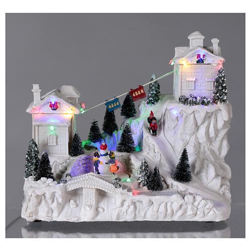 Villaggio natalizio con funivia 30x30x15 cm 2
