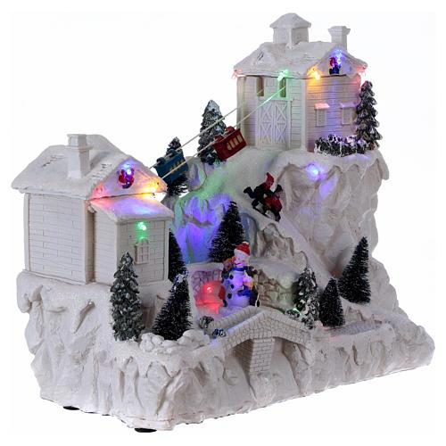 Villaggio natalizio con funivia 30x30x15 cm 4