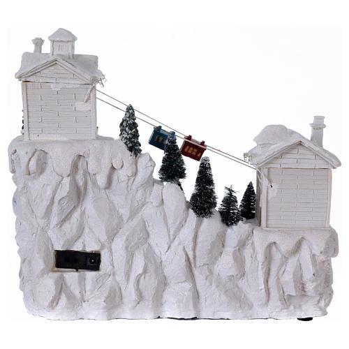 Villaggio natalizio con funivia 30x30x15 cm 5