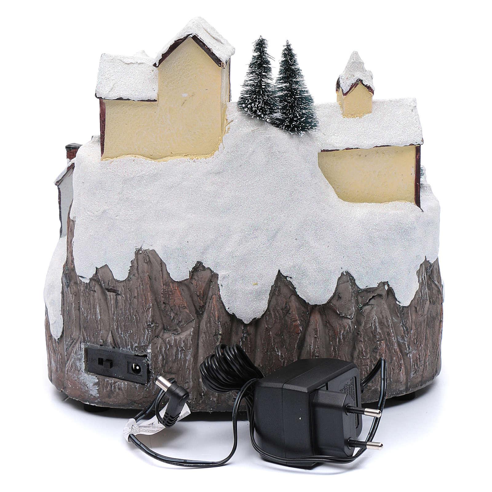 Villaggio di Natale con ruscello di fibra e musica 25x25x17 cm 3