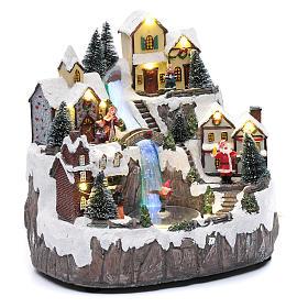 Villaggio di Natale con ruscello di fibra e musica 25x25x17 cm s3
