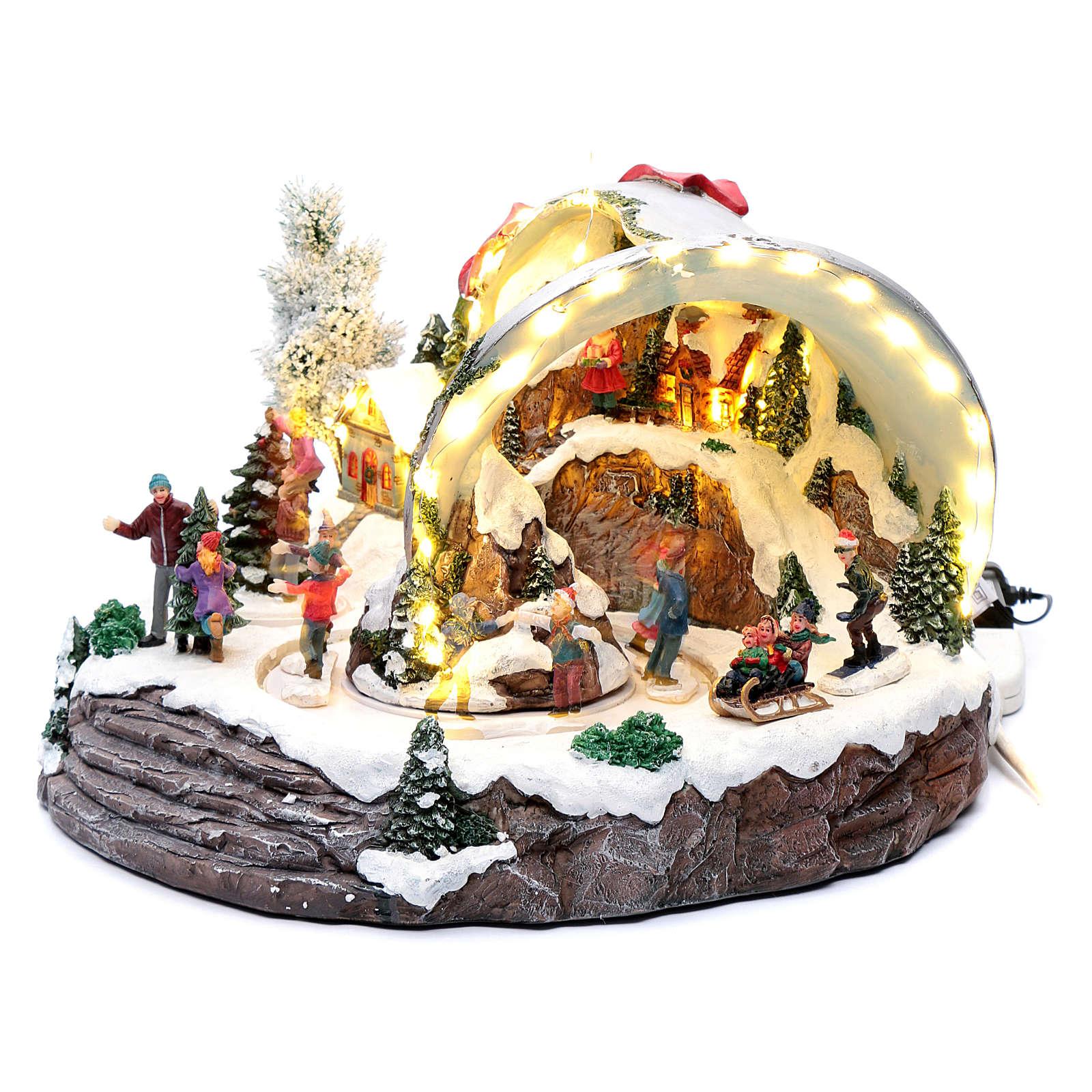 Pueblo navideño campana de Navidad 25x35x40 cm 3