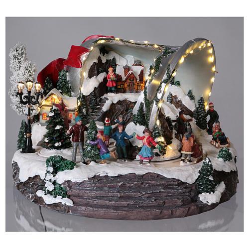 Pueblo navideño campana de Navidad 25x35x40 cm 2