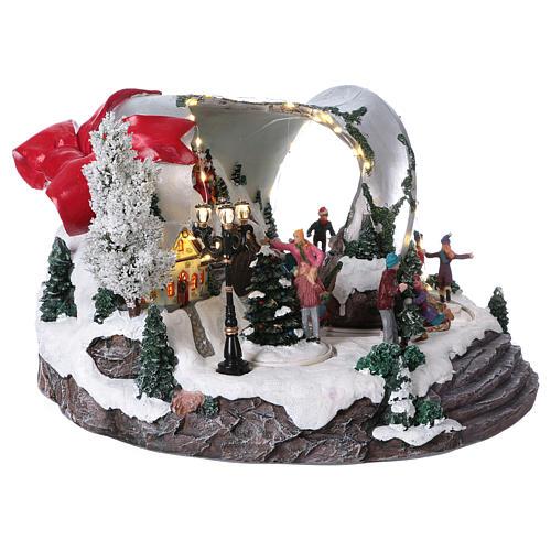 Pueblo navideño campana de Navidad 25x35x40 cm 4