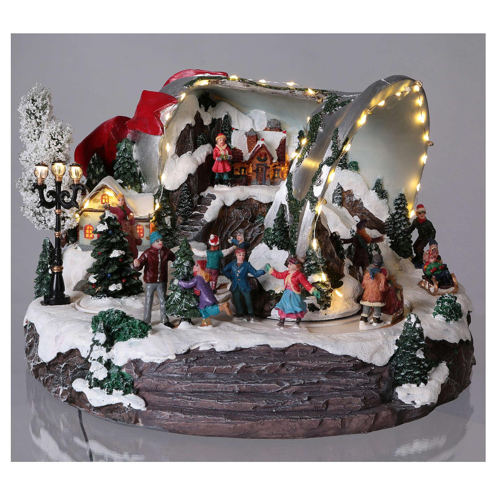 Scène cloche de Noël 25x35x40 cm 3