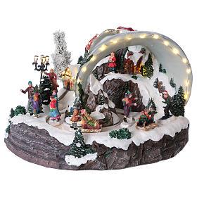 Scène cloche de Noël 25x35x40 cm s3