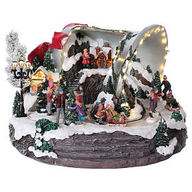 Cenários Natalinos em Miniatura: Cena sino de Natal 25x35x40 cm
