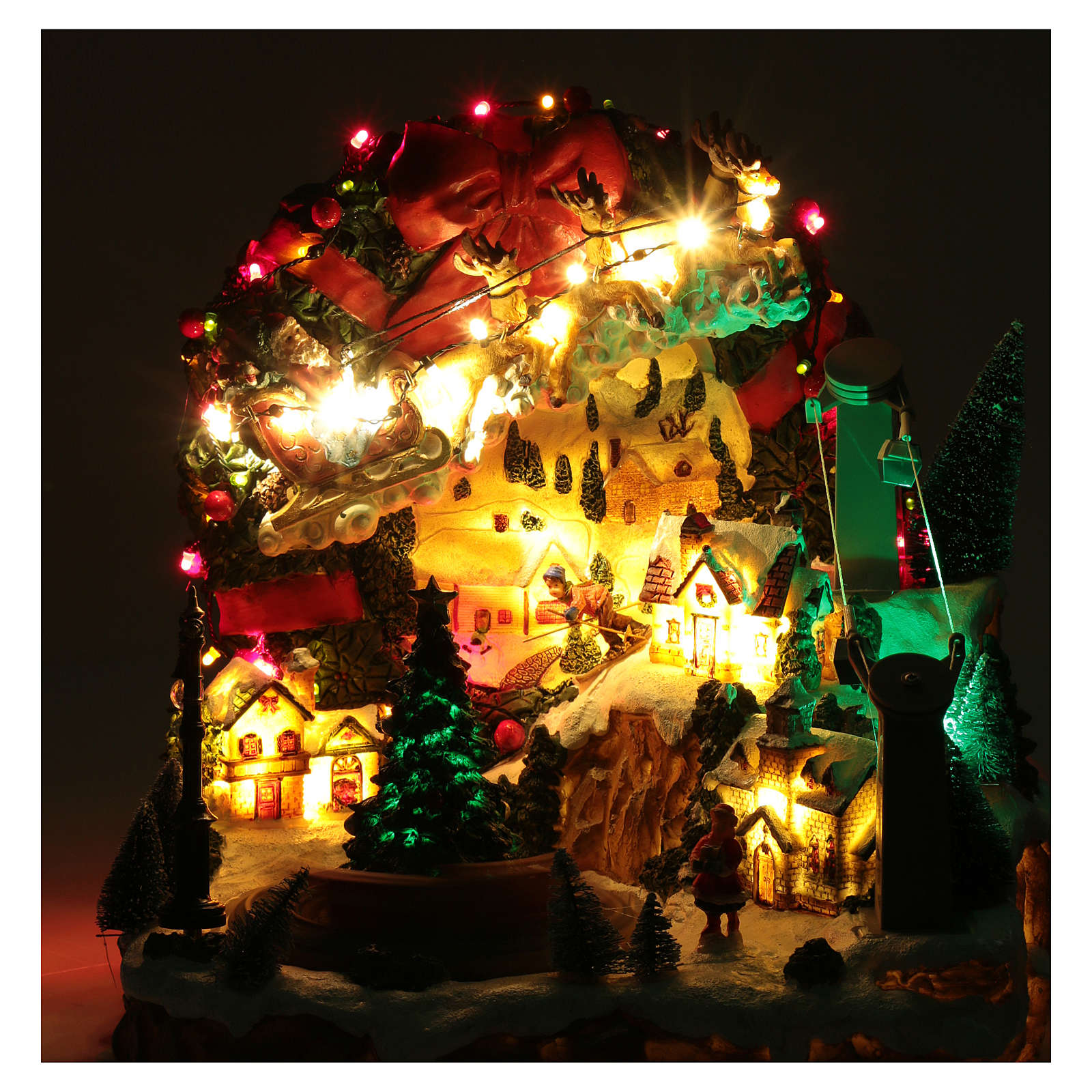 Christmas scene with lights and moving train 30x30x25 cm 3