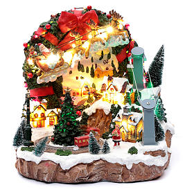 Christmas scene with lights and moving train 30x30x25 cm s1