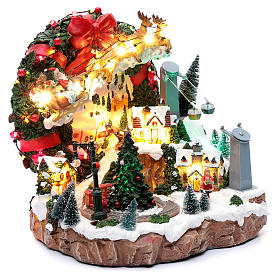 Christmas scene with lights and moving train 30x30x25 cm s3