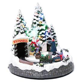 Villaggio natalizio treno in movimento e fotografo 20x20x20 cm s3