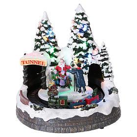 Cenários Natalinos em Miniatura: Cenário Natal trem em movimento e fotógrafo 20x20x20 cm
