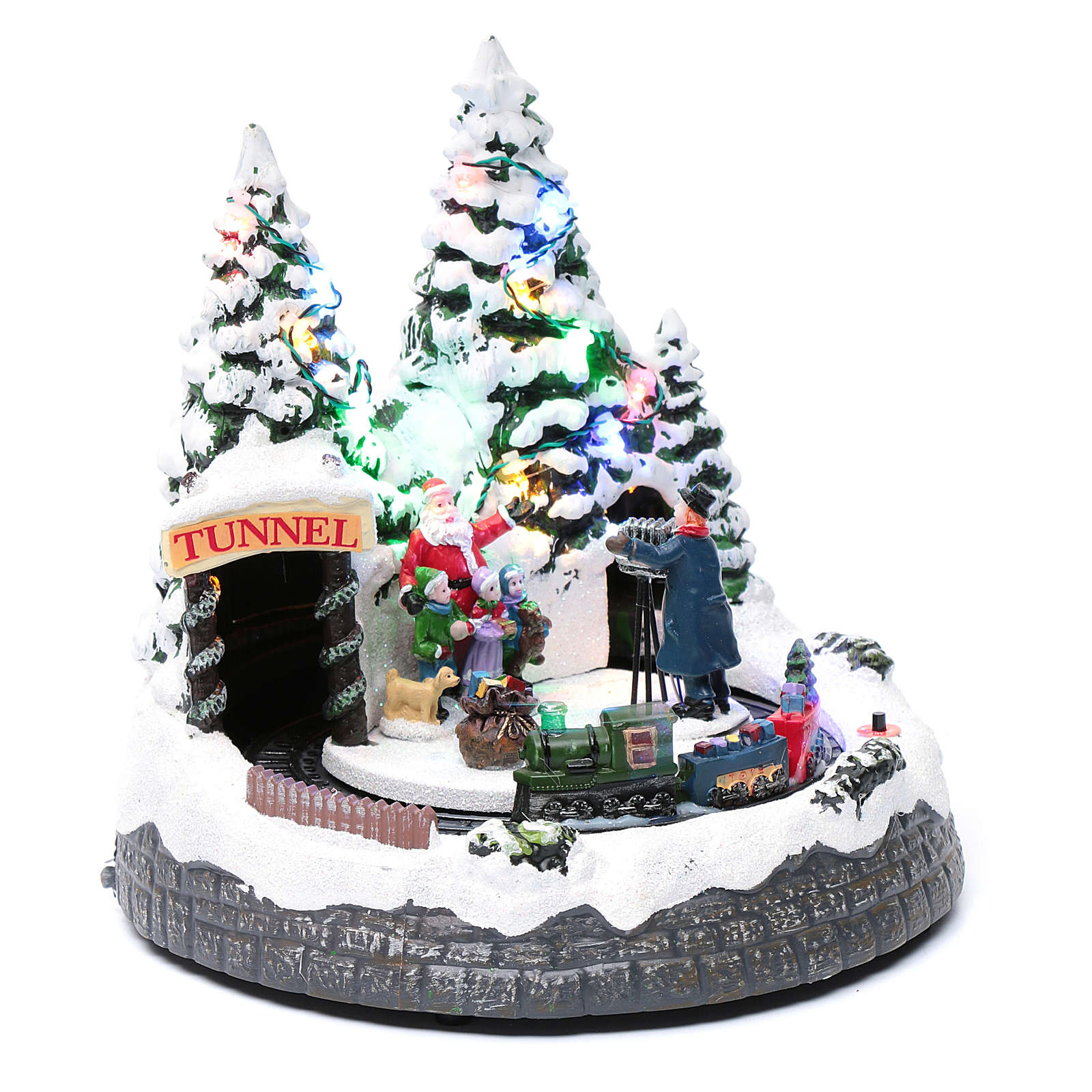 Christmas village with moving train and photographer | online sales ...