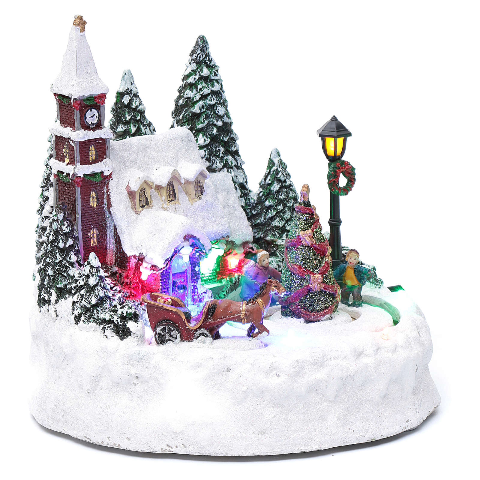 Villaggio di Natale illuminato bambini in movimento 20x20x15 cm 3