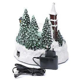 Villaggio di Natale illuminato bambini in movimento 20x20x15 cm s5