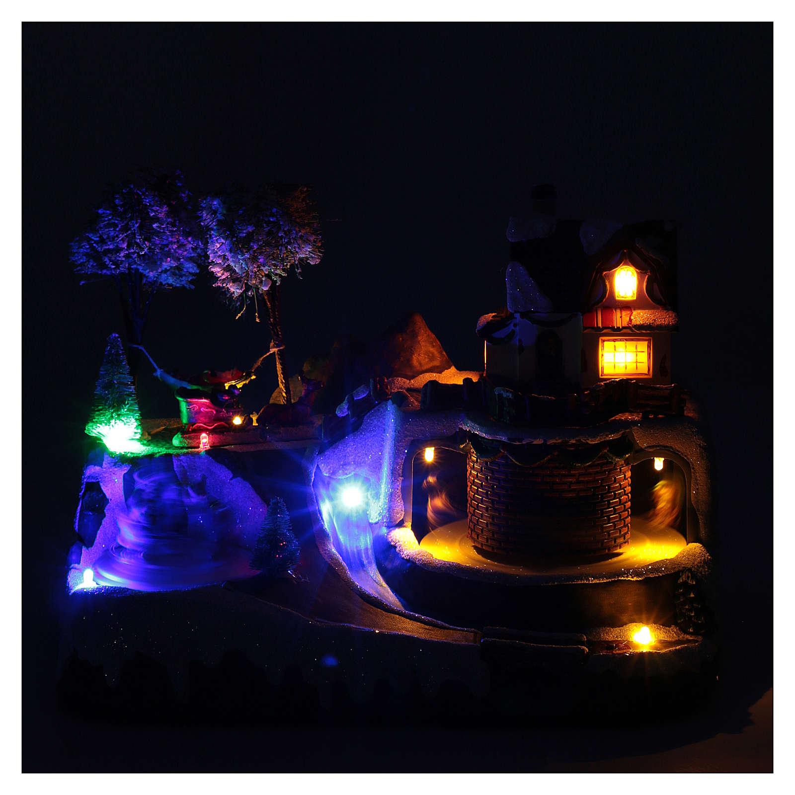 Weihnachtsszene Pferdewagen und Weihnachtsmann beim Erholen 20x25x20cm Licht und Bewegung 3