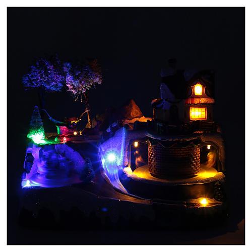 Weihnachtsszene Pferdewagen und Weihnachtsmann beim Erholen 20x25x20cm Licht und Bewegung 4