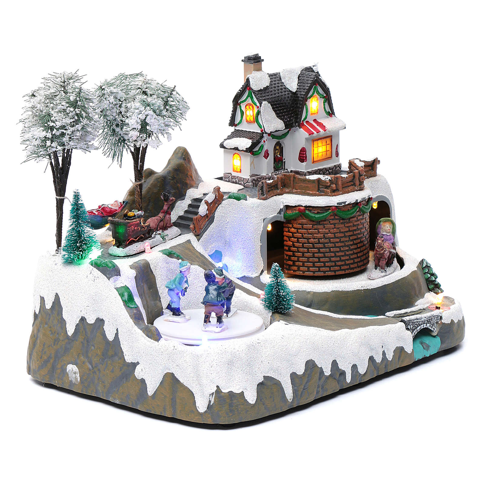 Christmas village with music 20x25x20 cm with moving children ice skating 3