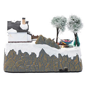 Christmas village with music 20x25x20 cm with moving children ice skating s5