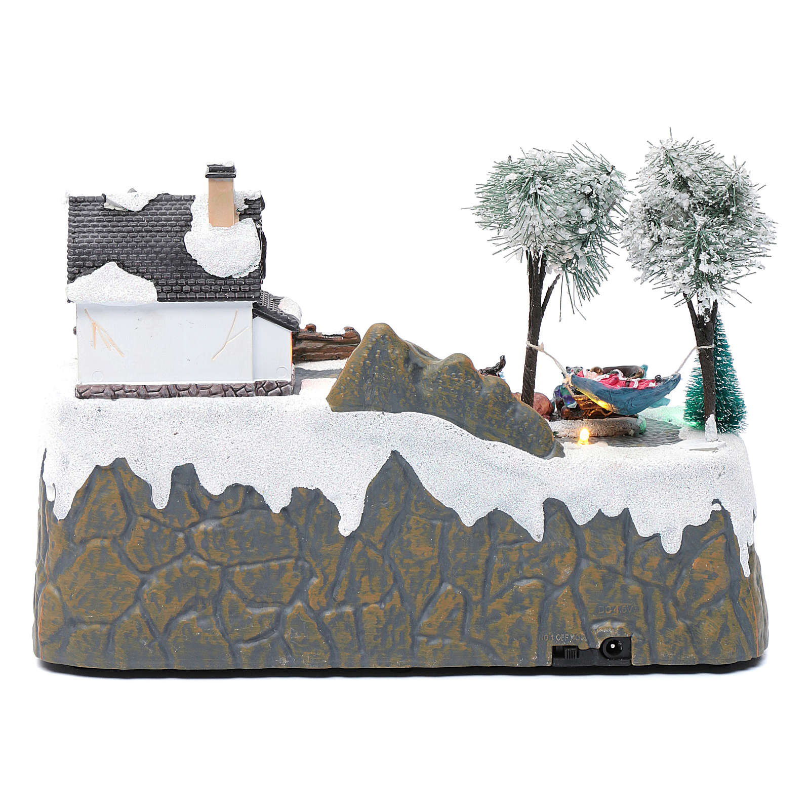 Village Noël musique 20x25x20 cm enfants qui patinent en mouvement 3