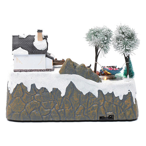 Christmas village with music 20x25x20 cm with moving children ice skating 5