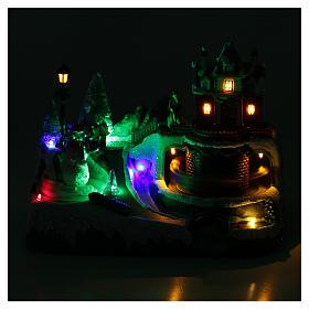 Weihnachtsszene Zug und Schneemann 20x25x20cm Licht und Bewegung s4