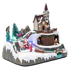 Villaggio Natalizio musica 20x25x20 cm Babbo Natale ed elfi in movimento s3