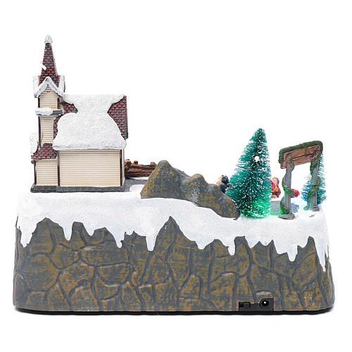 Villaggio Natalizio musica 20x25x20 cm Babbo Natale ed elfi in movimento 5