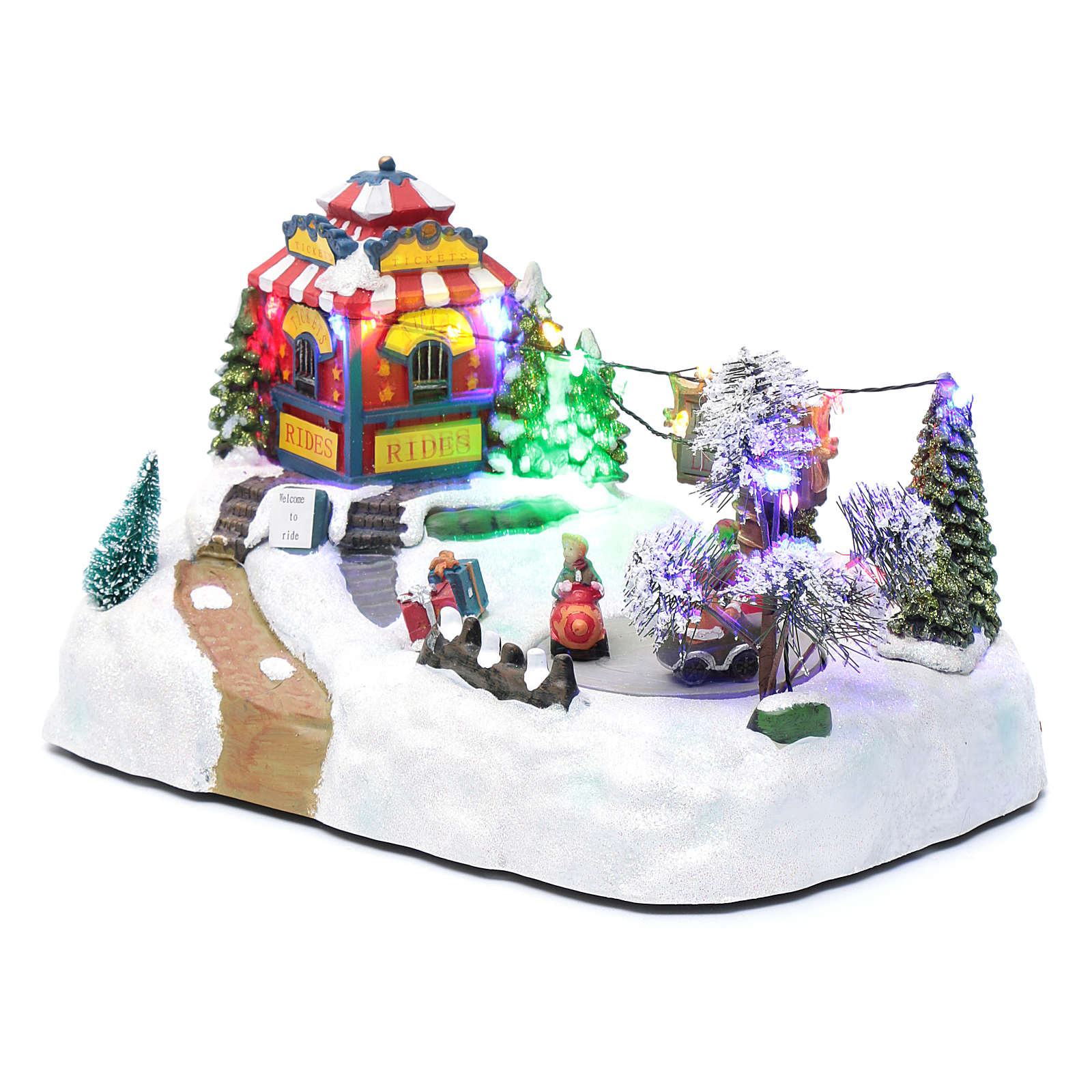 Moving christmas village with playground, led lights and music 20x25x15 cm 3