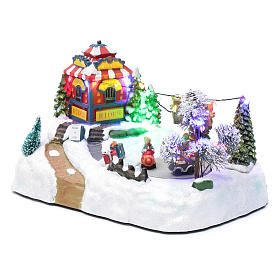 Moving christmas village with playground, led lights and music 20x25x15 cm s2