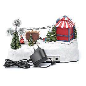 Moving christmas village with playground, led lights and music 20x25x15 cm s5