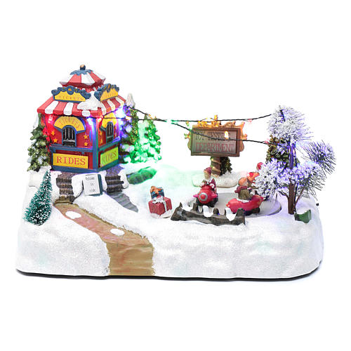 Moving christmas village with playground, led lights and music 20x25x15 cm 1