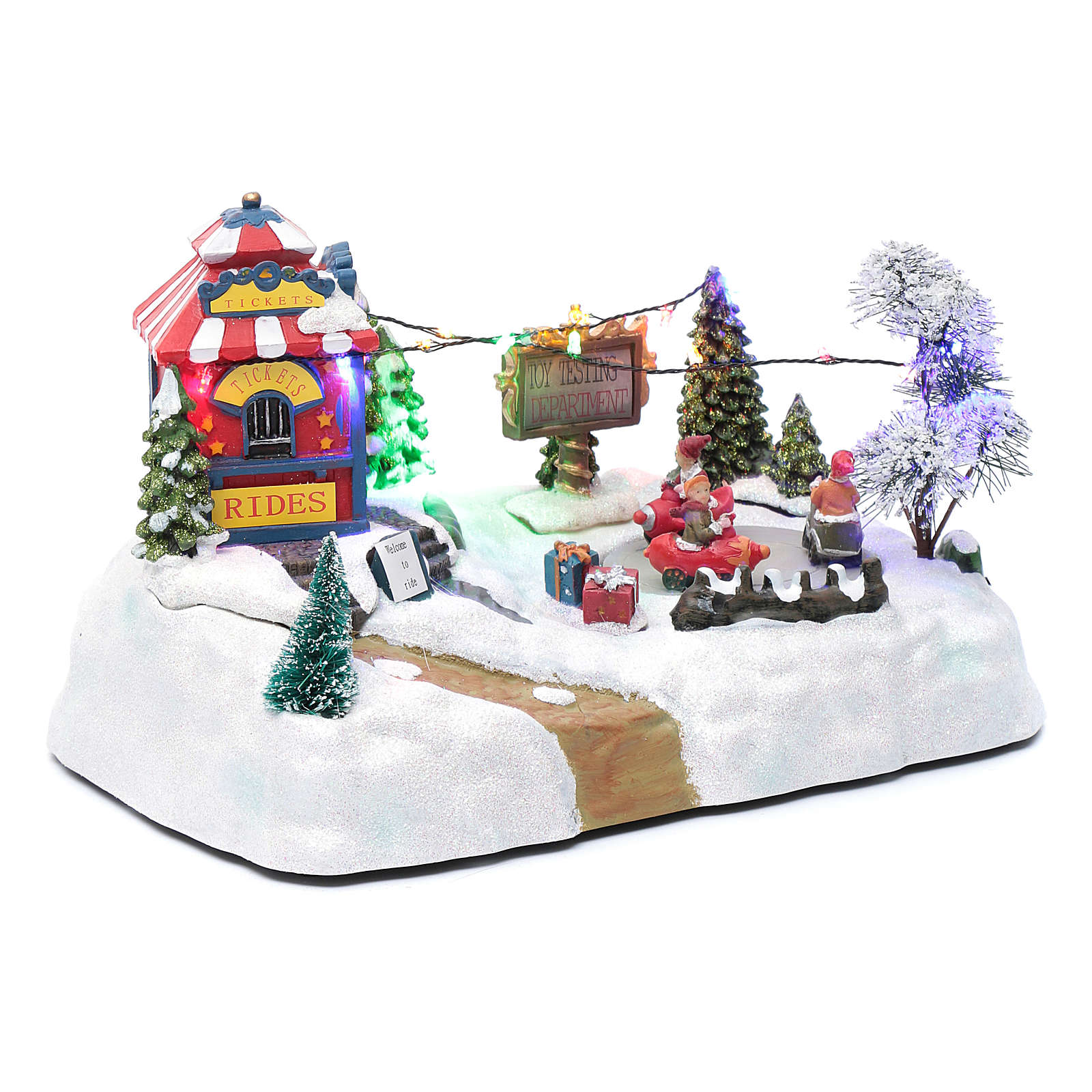 Paisaje de Navidad con parque en movimiento música y luces led 20x25x15 cm 3
