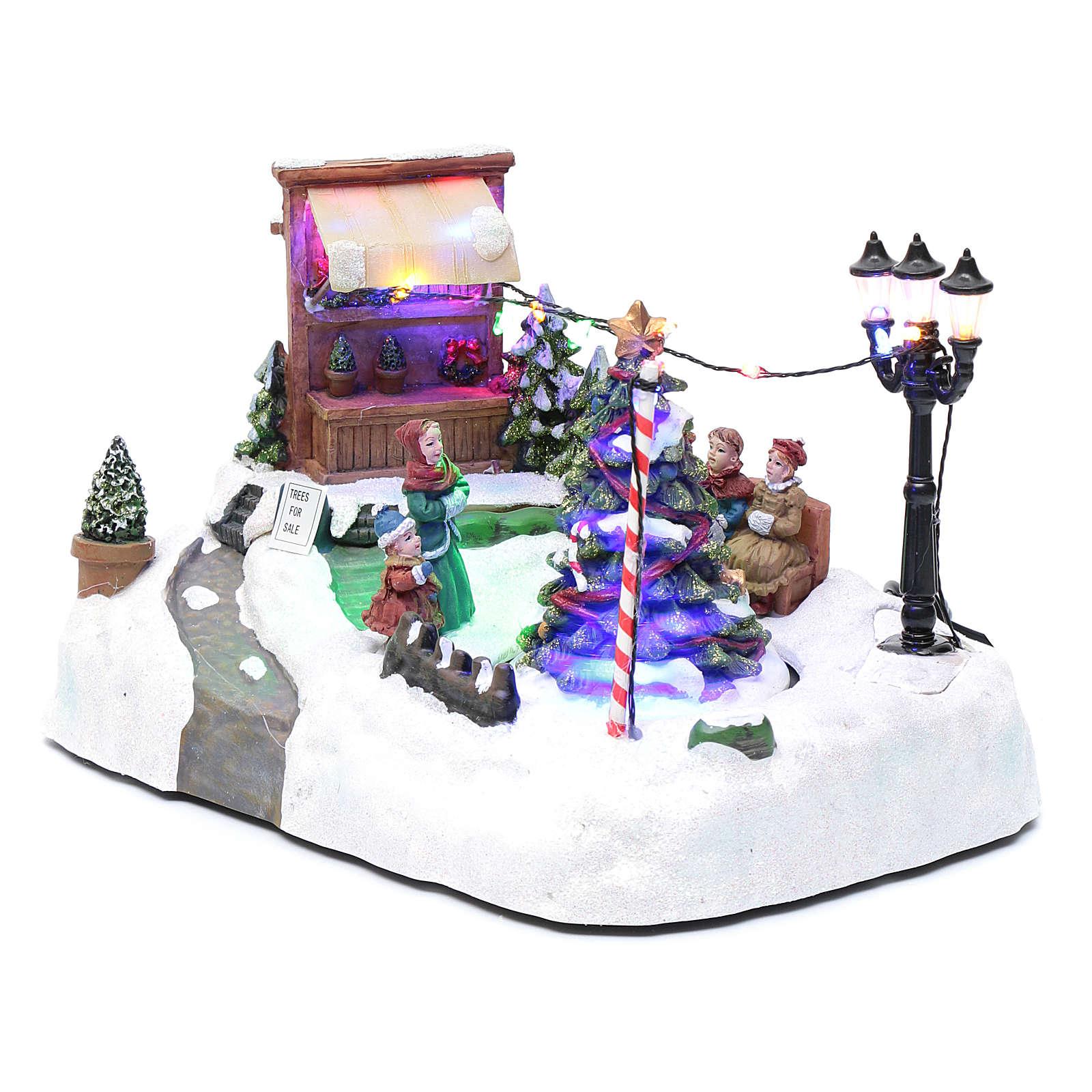 Paisaje de Navidad con negocio navideño música y árbol en movimiento 20x25x20 cm 3